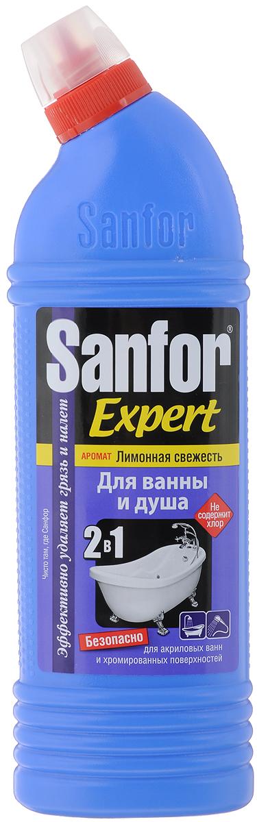 """Специальная формула позволяет использовать Sanfor """"Лимонная свежесть"""" для абсолютно   любых видов ванн, хромированных кранов и душа, не повреждает поверхности даже при   ежедневном использовании. Обладает хорошими чистящими свойствами, эффективно удаляет   известковый налет, препятствует его появлению, легко справляется с мыльными подтеками,   удаляет ржавчину. В отличие от обычных средств, Sanfor """"Лимонная свежесть"""" содержит специальные компоненты,   препятствующие осаждению загрязнений после смывания. Поэтому, даже после одного   применения, Sanfor """"Лимонная свежесть"""" оставляет блеск в течение 7 дней.Благодаря загущенной формуле равномерно распределяется и не стекает с наклонных   поверхностей. Обеспечивает свежий запах. Не содержит хлор, при этом специальная формула гарантирует хорошие чистящие и   антимикробные свойства.Товар сертифицирован.    Как выбрать качественную бытовую химию, безопасную для природы и людей. Статья OZON Гид"""