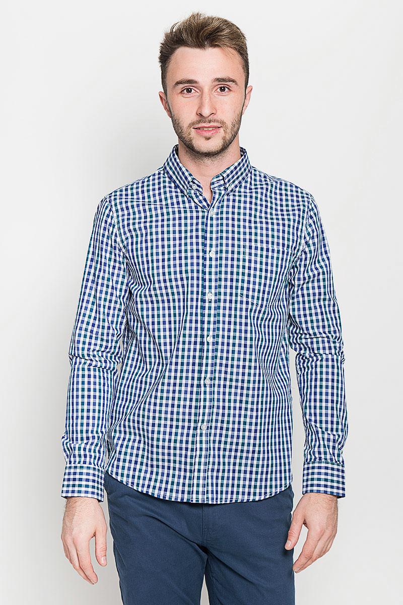 Рубашка мужская Baon, цвет: синий, зеленый, белый. B676529. Размер S (46)