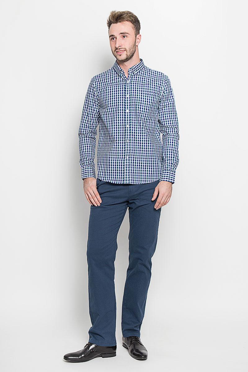 Рубашка мужская Baon, цвет: синий, зеленый, белый. B676529. Размер L (50)