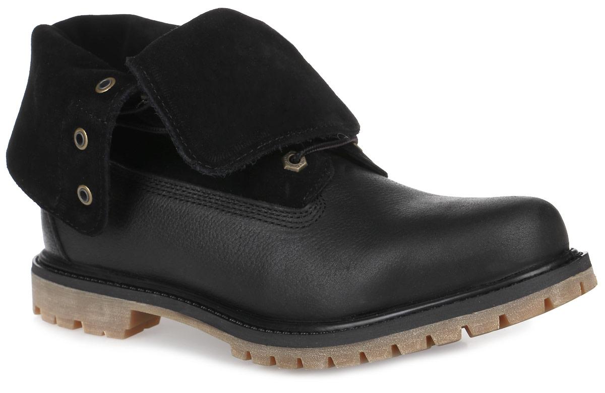 Ботинки женские Timberland Suede Roll-Top, цвет: черный. TBLA18PQW. Размер 10 (40,5)TBLA18PQWСтильные мужские ботинки Suede Roll-Top от Timberland заинтересуют вас своим дизайном с первого взгляда! Модель изготовлена из натуральной зернистой кожи со вставками из текстиля, боковая сторона и язычок декорированы тиснением в виде логотипа бренда. Классическая шнуровка прочно зафиксирует модель на вашей ноге. Подкладка из текстиля дополнена нубуковой вставкой на заднике. Подошва с технологией Anti-Fatigue создана для тех, кто проводит весь день на ногах. Anti-Fatigue - уникальная литая полиуретановая стелька с инновационной структурой в виде геометрических перевернутых конусов, которые сжимаются при ходьбе и увеличивают энергию, сокращая усталость ног.Ультрамодные ботинки не оставят вас незамеченным!
