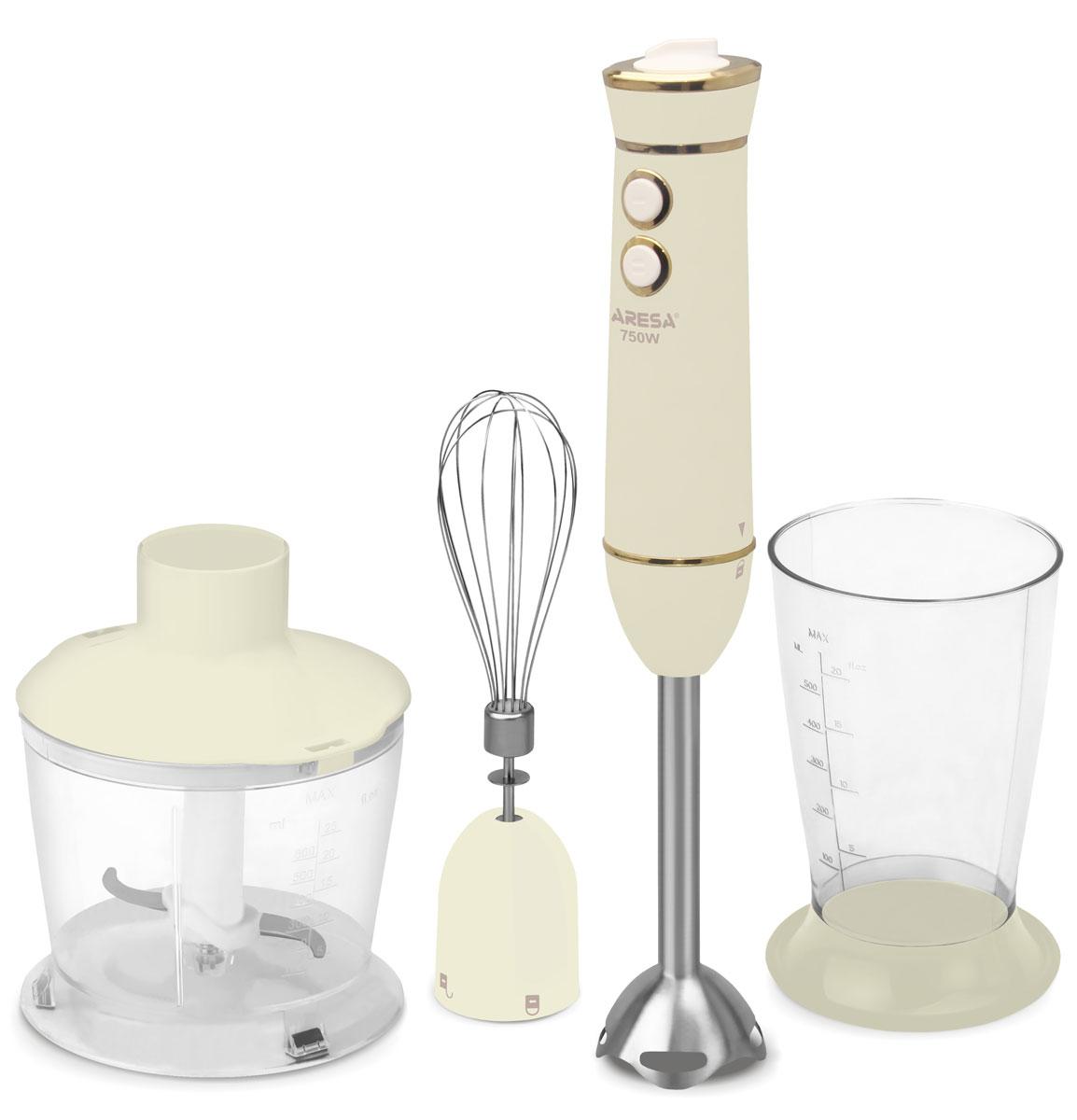 Aresa AR-1110 блендерAR-1110Aresa AR-1110 несомненно станет незаменимым помощником для любой хозяйки. Он идеален для приготовления молочных коктейлей, супов или пюре. Набор содержит погружной измельчитель, стакан объемом 0,5 л, ёмкость с измельчителем объемом 0,6 л и венчик для взбивания. Корпус прибора выполнен из прочного пластика бежевого цвета, а насадки имеют лезвия и ножи, изготовленные из качественного металла. Номинальная мощность блендера 750 Вт. Для удобства в использовании, ёмкости имеют прорезиненные ножки, предотвращающие скольжение.
