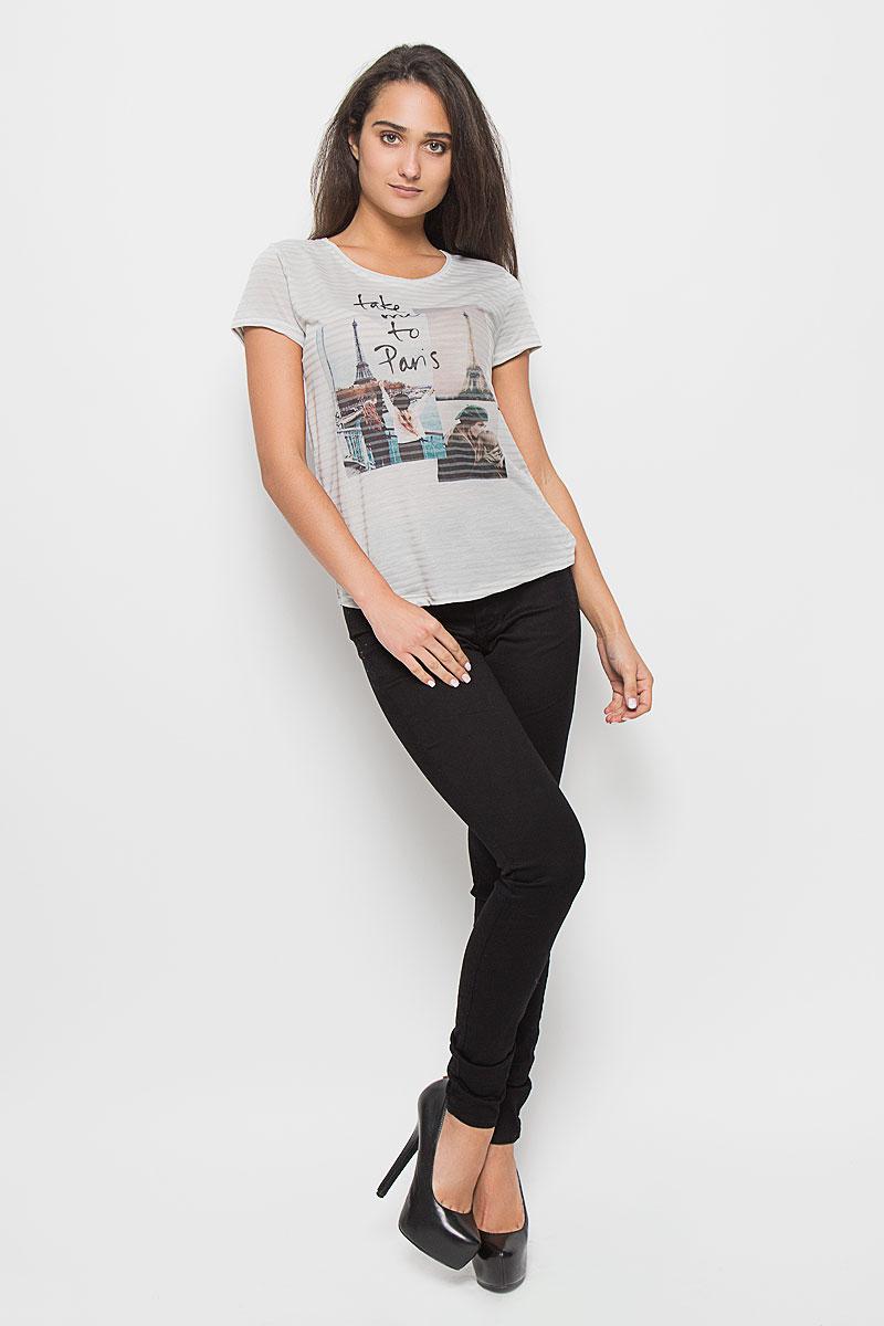Футболка женская Tom Tailor Denim, цвет: серый. 1035531.01.71_2645. Размер XL (50)1035531.01.71_2645Стильная женская футболка Tom Tailor Denim, выполненная из полиэстера с добавлением хлопка, обладает высокой теплопроводностью, воздухопроницаемостью и гигроскопичностью, позволяет коже дышать. Модель с короткими рукавами и круглым вырезом горловины - идеальный вариант для создания стильного современного образа. Футболка оформлена оригинальным принтом с изображением фотографий Парижа и надписи Take Me To Paris.Такая модель подарит вам комфорт в течение всего дня и послужит замечательным дополнением к вашему гардеробу.