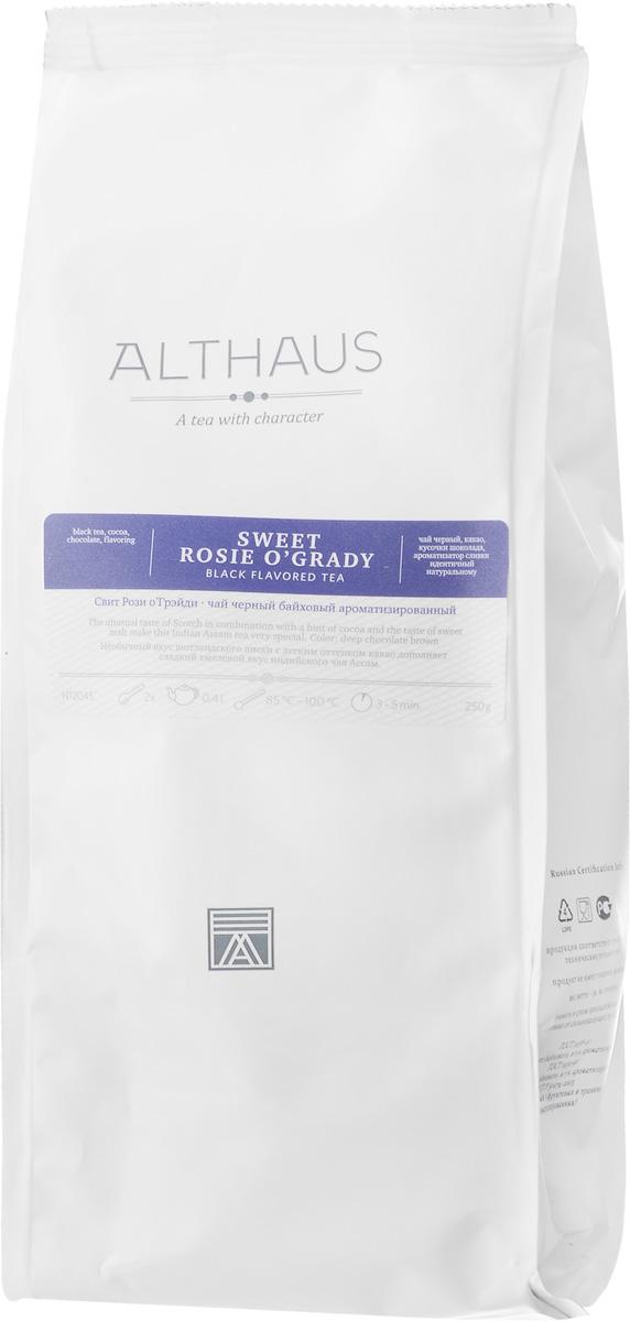 Althaus Sweet Rosie OGrady черный листовой чай, 250 гTALTHL-L00097Althaus Sweet Rosie OGrady — это замечательное сочетание сладкого хмелевого вкуса индийского чая Ассам, горького шоколада и шотландского виски с легким оттенком какао.Вкус шоколада неизмеримо глубже и многограннее вкуса многих других добавок. А в сочетании с чаем он приобретает и ярко выраженные ароматические свойства. Хрустящие кусочки шоколада насыщают напиток цветом, раскрывают в нем сладкий воздушно-сливочный аромат с кофейной нотой.Виски придает чайному букету сложность и густоту: пряность классического чая дополняется новыми оттенками вкуса — обволакивающей сладостью молочной карамели и деликатной кислинкой. Этот необычный чай приятно согревает в холодное время года и превосходно сочетается с десертами.Оптимальная температура заваривания: 95°СТемпература воды: 85-100 °СВремя заваривания: 3-5 минЦвет в чашке: шоколадно-коричневыйВсё о чае: сорта, факты, советы по выбору и употреблению. Статья OZON Гид