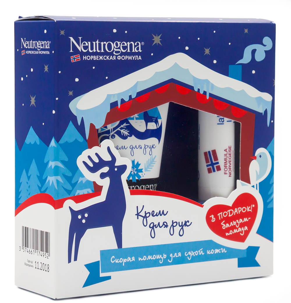 Neutrogena Подарочный набор Норвежская формула: Крем для рук с запахом, 50мл + ПОДАРОК: Бальзам-помада, 4,8г030354104Крем Neutrogena великолепно увлажняет руки благодаря рекордно высокому содержанию глицерина на уровне 40%. Клинические исследования подтверждают, что крем мгновенно помогает сухой, очень сухой и поврежденной коже рук. Заметно улучшает внешний вид кожи, восстанавливает ее защитный барьер. Благодаря концентрированной формуле небольшого количества крема достаточно, чтобы кожа рук стала мягче уже с первого применения. Бальзам-помада Neutrogena мгновенно восстанавливает и защищает сухие потрескавшиеся губы, заживляя даже кровоточащие трещинки за 5 дней! Бальзам-помада для губ Neutrogena содержит оптимальную концентрацию восков и смягчающих масел, которые делают ваши губы мягкими и нежными. Благодаря содержанию фактора защиты от солнца (ФЗС) 4, бальзам-помада поможет всем, кто оказался под одновременным воздействием холода, ветра и солнечных лучей. Недаром продукт получил высокую оценку альпинистов во время его тестирования в Гималаях под контролем дерматологов. Бальзам-помада также рекомендована дерматологами как лечебный сопутствующий уход при приеме роаккутана (препарат против акне, который имеет побочное действие - сухость кожи губ).