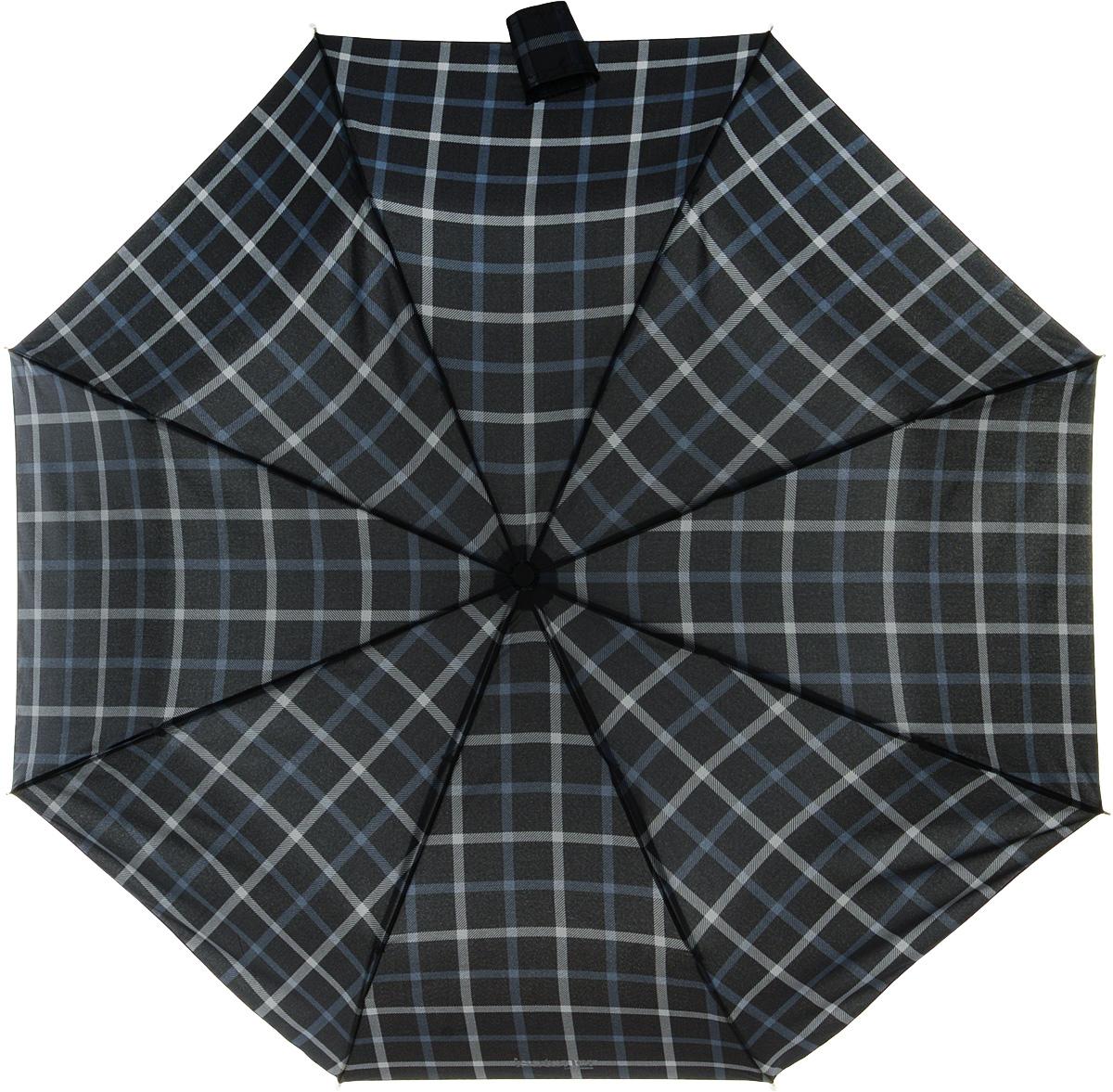 Зонт мужской Isotoner, автомат, 3 сложения, цвет: черный, серый. 09407-3971