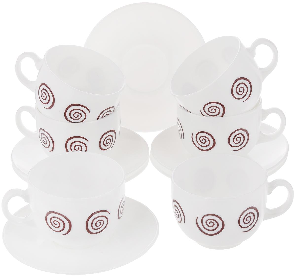 Набор чайный Luminarc Sirocco Brown, 12 предметовG4126Чайный набор Luminarc Sirocco Brown состоит из 6 чашек и 6 блюдец. Изделия, выполненные из высококачественного ударопрочного стекла, имеют элегантный дизайн с красивым рисунком. Посуда отличается прочностью, гигиеничностью и долгим сроком службы, она устойчива к появлению царапин и резким перепадам температур. Такой набор прекрасно подойдет как для повседневного использования, так и для праздников. Чайный набор Luminarc Sirocco Brown - это не только яркий и полезный подарок для родных и близких, это также великолепное дизайнерское решение для вашей кухни или столовой. Объем чашки: 220 мл. Диаметр чашки (по верхнему краю): 8 см. Высота чашки: 6,5 см.Диаметр блюдца: 13 см.