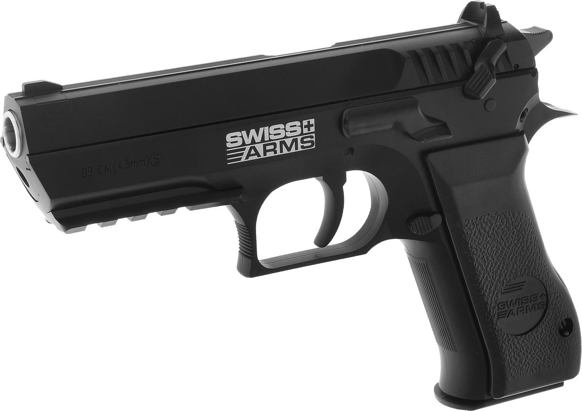 """Пневматический пистолет Swiss Arms """"Jericho 941"""" хорошо лежит в руке и прекрасно сбалансирован. Благодаря низкому расположению центра  тяжести и удобной рукояти пистолетом очень удобно управлять. Это качество отмечают все без исключения, кто стрелял из этого пистолета. Все  элементы управления пистолетом (предохранитель, защелка магазина) выполнены очень рационально. Самовзводный тип ударного механизма  надежен в работе. Затвор при выстреле неподвижен - классическая схема гарантирует высокую скорость пули и стабильность ее от выстрела к  выстрелу. Характеристики пистолета: Принцип действия: газобаллонная пневматика, без системы BlowBack. Баллон: СО2 12 г. Калибр: 4,5 мм. Тип снаряда: шарики 4,5 мм. Емкость магазина: 22 шарика. Дульная энергия: до 3 Дж. Скорость снаряда: 135 м/с. Принцип действия: самовзводный. Система стабилизации шарика: BAXs. Спусковой механизм: самовзводный. Длина пистолета: 18 см. Опасная дистанция: до 205 м. Вес пистолета без магазина: 565 г. Вес пистолета с магазином: 900 г. Опасно! Не игрушка. Для лиц старше 18 лет. Внимание: Перед использованием прочитать все инструкции. Обращаться с изделием, так же как и с оружием. Всегда направлять в  безопасную сторону как указано в инструкции. Храните инструкцию в безопасном месте для дальнейшего ее использования. Предупреждение: Не игрушка! Необходим надзор взрослых. Неправильное или небрежное использование может привести к серьезным травмам  или смерти. Может быть опасным до 205 м. Данный пневматический пистолет разрешен к использованию лицами, достигшими 18 лет и старше.  Перед использованием прочтите все инструкции. Пользователь должен соответствовать всем требованиям, установленным всеми законами,  распространяющими свое действие на использование и владение газобаллонными пистолетами."""