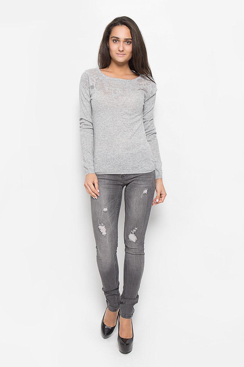 все цены на  Джемпер женский Sela, цвет: серый меланж. JR-114/1192-6343. Размер XXL (52)  онлайн