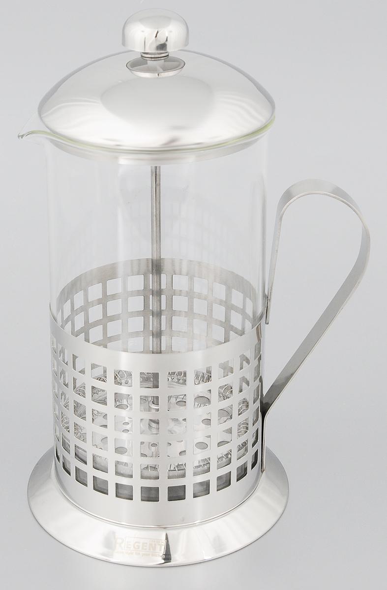 Френч-пресс Regent Inox Franco, 1 л. 93-FR-01-01-1000D93161Френч-пресс Regent Inox Franco изготовлен их экологически чистых материалов:жаропрочного стекла и нержавеющей стали с зеркальной полировкой. Корпус внижней части оформлен перфорированным рисунком в виде клеточек. Френч- пресс оснащен удобной ручкой. Фильтр-поршень из нержавеющей сталиобеспечивает равномерную циркуляцию воды и насыщенность напитка. С егопомощью также можно регулировать степень крепости чая. Сбоку стекляннойколбы имеется носик для удобного слива жидкости. Френч-пресс Regent Inox позволит быстро приготовить свежий и ароматныйкофе или чай.На упаковке - инструкция в картинках, которая поможет вам правильно заваритьчай или кофе. Можно мыть в посудомоечной машине. Высота (с учетом крышки): 25 см. Диаметр колбы по верхнему краю: 9,5 см. Высота стенки колбы: 20 см.