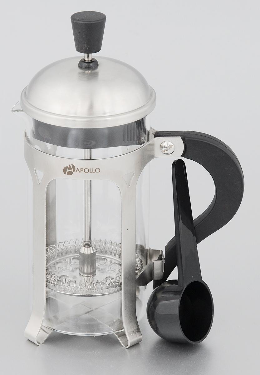 Френч-пресс Apollo Tesla, 300 млTSL-03Френч-пресс Apollo Tesla изготовлен из высококачественной нержавеющей стали и жаропрочного стекла. Фильтр-поршень из нержавеющей стали выполнен по технологии press-up для обеспечения равномерной циркуляции воды. Засыпая чайную заварку или кофе под фильтр, заливая горячей водой, вы получаете ароматный напиток с оптимальной крепостью и насыщенностью. Остановить процесс заваривания легко, для этого нужно просто опустить поршень, и все уйдет вниз, оставляя вверху напиток, готовый к употреблению. В комплект входит пластиковая ложка.Френч-пресс Apollo Tesla позволит быстро и просто приготовить свежий и ароматный кофе или чай.Нельзя мыть в посудомоечной машине.Объём: 300 мл.Диаметр изделия (по верхнему краю): 7 см.Высота изделия без учета крышки: 14 см.Длина ложки: 10 см.
