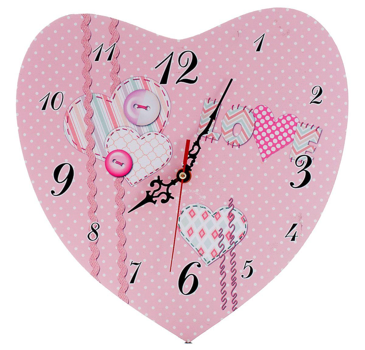 Часы настенные Русские Подарки Сердце, диаметр 30 см. 3824238242Настенные кварцевые часы Русские Подарки Сердце изготовлены из МДФ. Корпус оригинально оформлен в виде сердечка. Часы имеют три стрелки - часовую, минутную и секундную. С обратной стороны имеется петелька для подвешивания на стену.Такие часы красиво и необычно оформят интерьер дома или офиса. Также часы могут стать уникальным, полезным подарком для родственников, коллег, знакомых и близких. Часы работают от батареек типа АА (в комплект не входят).