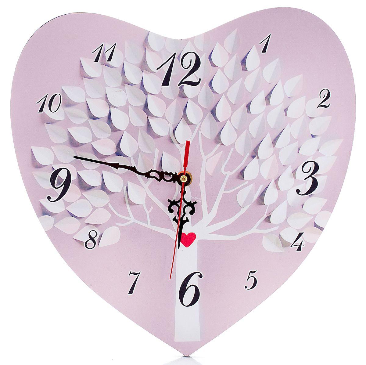Часы настенные Русские Подарки Сердце, диаметр 30 см. 3824338243Настенные кварцевые часы Русские Подарки Сердце изготовлены из МДФ. Корпус оригинально оформлен в виде сердечка. Часы имеют три стрелки - часовую, минутную и секундную. С обратной стороны имеется петелька для подвешивания на стену.Такие часы красиво и необычно оформят интерьер дома или офиса. Также часы могут стать уникальным, полезным подарком для родственников, коллег, знакомых и близких. Часы работают от батареек типа АА (в комплект не входят).
