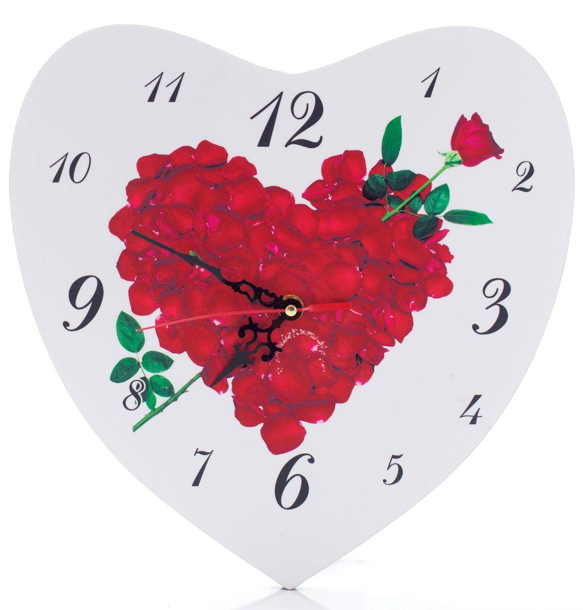 Часы настенные Русские Подарки Сердце, диаметр 30 см. 3824438244Настенные кварцевые часы Русские Подарки Сердце изготовлены из МДФ. Корпус оригинально оформлен в виде сердечка. Часы имеют три стрелки - часовую, минутную и секундную. С обратной стороны имеетсяпетелька для подвешивания на стену. Такие часы красиво и необычно оформят интерьер дома или офиса. Также часы могут стать уникальным, полезным подарком для родственников, коллег, знакомых и близких.Часы работают от батареек типа АА (в комплект не входят).