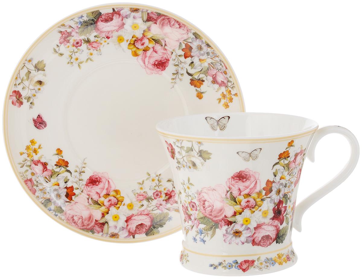 Чайная пара Nuova R2S Цветочный карнавал, цвет: белый, розовый, зеленый, 2 предметаR2S1357/BLOC-ALЧайная пара Nuova R2S Цветочный карнавал состоит из чашки и блюдца, изготовленных из высококачественного фарфора. Изделия оформлены золотистой каймой и имеют изысканный внешний вид. Такой набор прекрасно дополнит сервировку стола к чаепитию и подчеркнет ваш безупречный вкус. Объем чашки: 300 мл.Диаметр чашки по верхнему краю: 10,5 см.Высота чашки: 9,5 см.Диаметр блюдца: 17,3 см.
