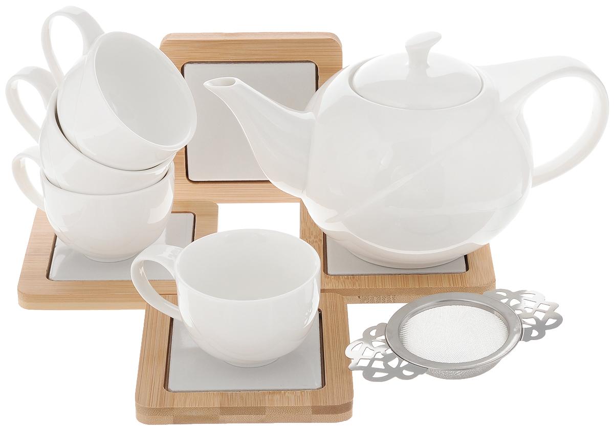 Набор чайный EcoWoo, 9 предметов730474Чайный набор EcoWoo - это не только идеальный подарок, но ипрекрасный повод побаловать себя! Набор состоит из 4 чашек, 4бамбуковых подставок и заварочного чайника с фильтром. Такой набор станет идеальным решением для ценителей экологичных деталей винтерьере и поклонников здорового образа жизни. Объем чайника: 600 мл. Диаметр чайника (по верхнему краю): 7 см. Высота чайника (без учета крышки): 9,5 см. Объем чашки: 75 мл. Диаметр чашки (по верхнему краю): 6,8 см. Высота чашки: 5 см. Размер подставки: 10 х 10 см.