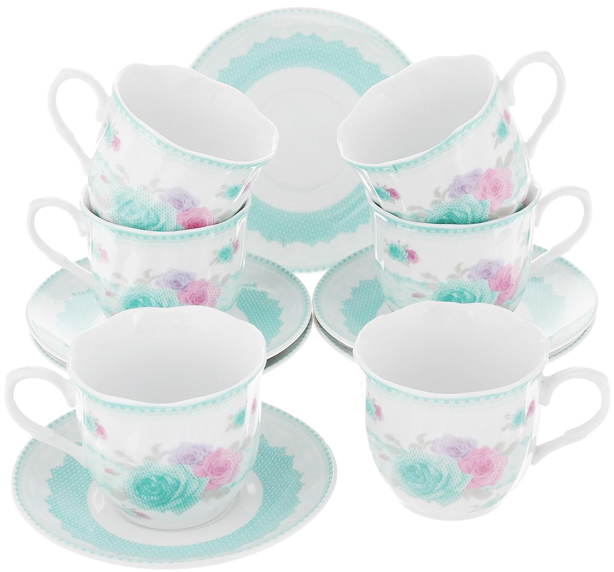 Чайный сервиз Loraine Цветы, 12 предметов сервиз чайный loraine на подставке 13 предметов 43285