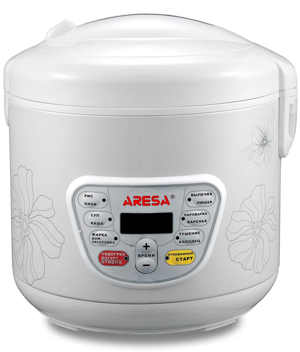 Aresa AR-2001 мультиваркаAR-2001Мультиварка Aresa AR-2001 имеет светодиодный LED-дисплей и вместительную чашу объемом 5 литров скерамическим покрытием. Удобная ручка для переноски позволит осуществлять удобное перемещение прибора.Множество различных функций и режимов приготовления позволит готовить именно те блюда, которые вамнравятся. Регулировка времени приготовления варьируется от 5 минут до 6 часов. В комплект входят полезныеаксессуары для приготовления пищи, а книгу рецептов можно бесплатно скачать с сайта производителя.
