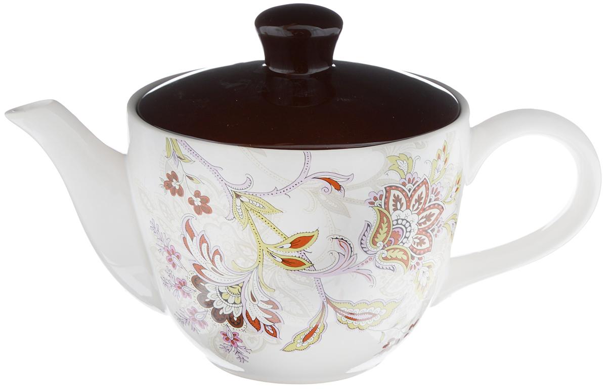 """Заварочный чайник """"Loraine"""" изготовлен из высококачественной доломитовой  керамики. Он имеет изящную форму и красивый дизайн. Гладкая, идеально ровная  поверхность облегчает очистку. Широкое верхнее отверстие делает чайник  необычным и оригинальным.  Чайник сочетает в себе изысканный дизайн с максимальной функциональностью.  Красочность оформления придется по вкусу и ценителям классики, и тем, кто  предпочитает утонченность и изысканность.  Чайник можно мыть в посудомоечной машине и использовать в микроволновой  печи.  Диаметр (по верхнему краю): 13,5 см.  Высота (без учета крышки): 10,5 см."""