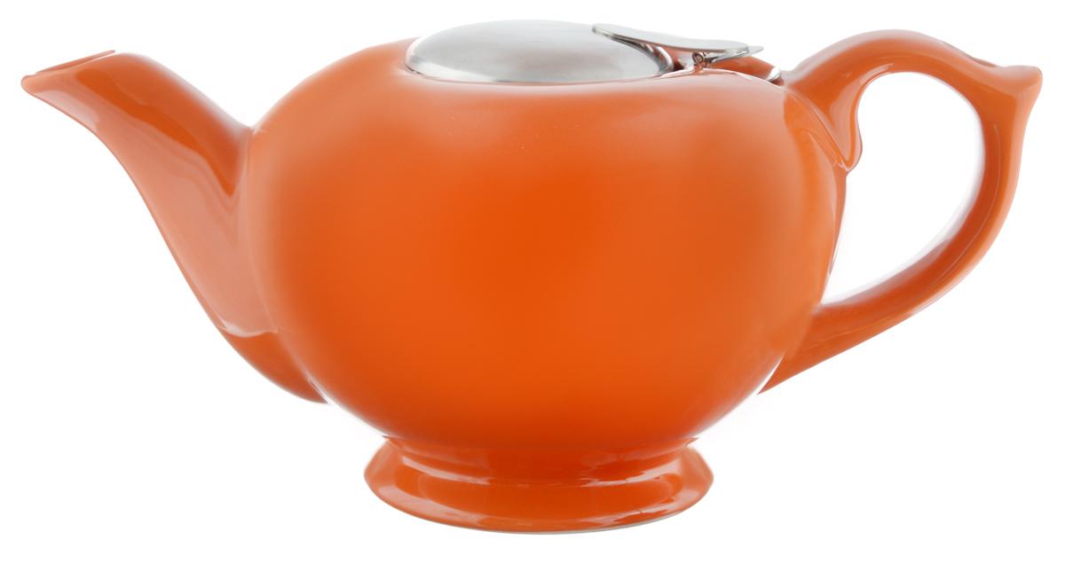 Чайник заварочный Loraine, с фильтром, цвет: оранжевый, 1,2 л1107049Заварочный чайник Loraine изготовлен из высококачественной керамики иснабжен крышкой изнержавеющей стали. Изделие оснащено фильтром, благодаря которомузадерживает чаинки ипредотвращает их попадание в чашку. Глянцевый корпус обеспечивает легкуюочистку.Чайник поможет заварить крепкий ароматный чай и великолепно украсит стол кчаепитию. Диаметр чайника (по верхнему краю): 12,5 см.Высота чайника (без учета крышки): 12 см.Диаметр фильтра: 6 см.Высота фильтра: 6 см.