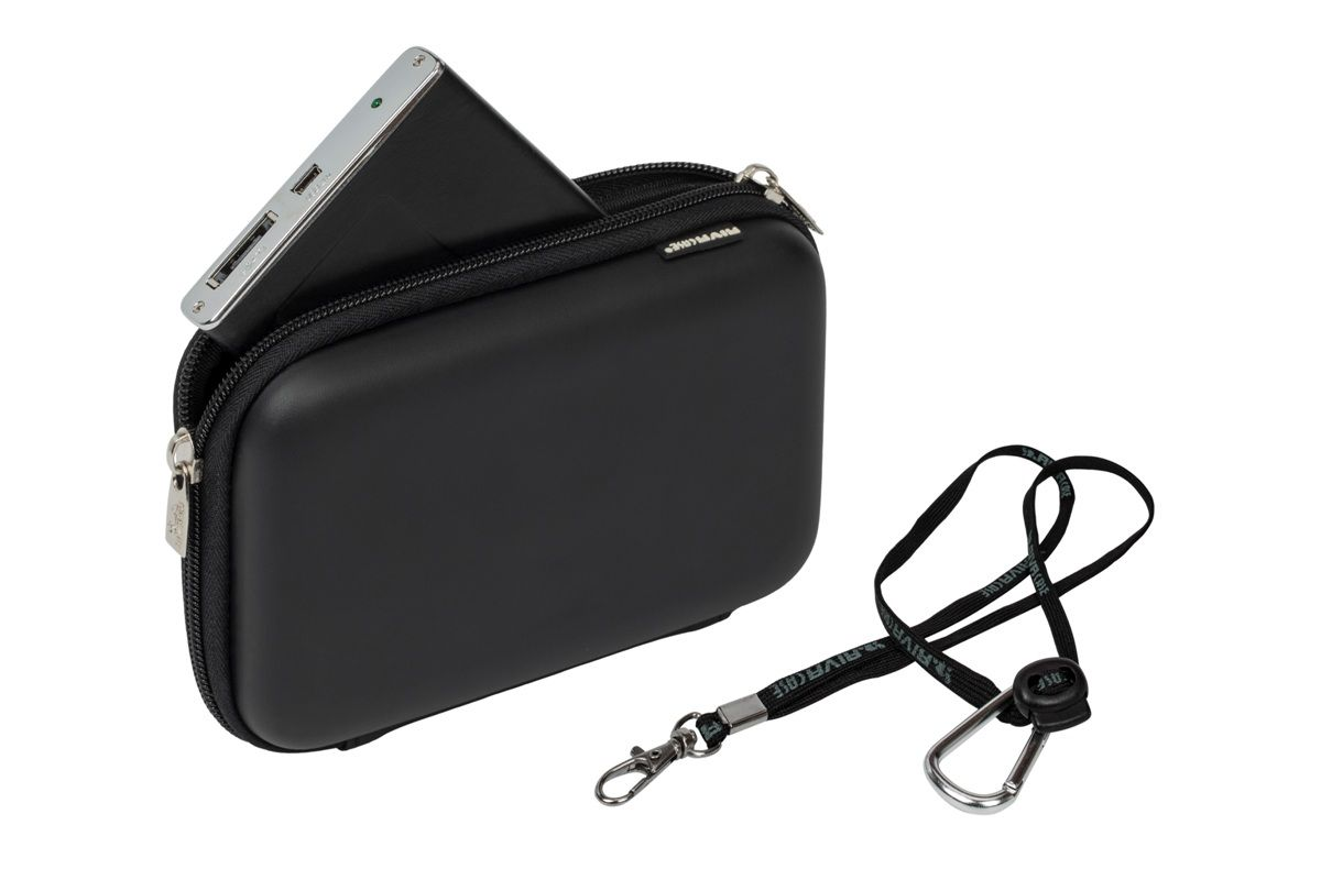 RIVACASE 9102 (PU) HDD / GPS Case, Black для жесткого диска protective eva carrying case bag for 5 gps black