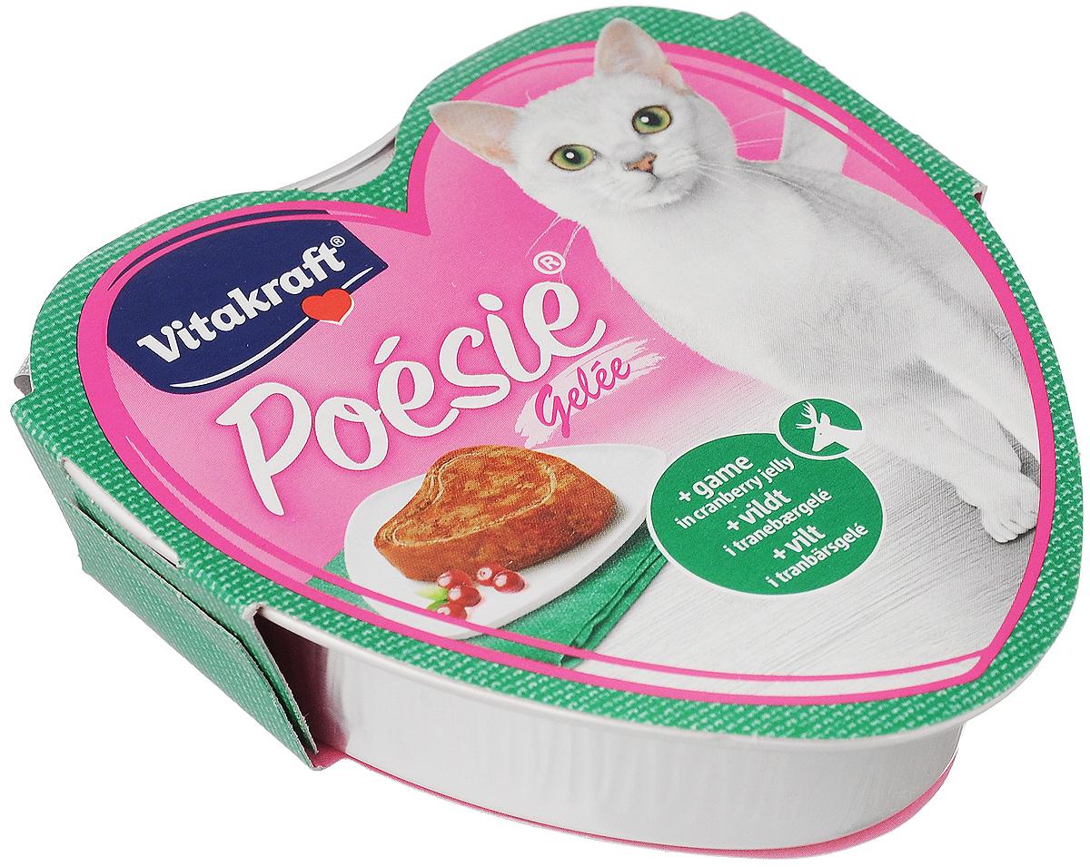 Консервы для кошек Vitakraft Poesie, дичь с клюквой в желе, 85 г62944Консервы для кошек Vitakraft Poesie - это полнорационный корм для кошек без искусственных красителей, сахара и консервантов. Состав: мясо и мясные субпродукты (5% дичь), минералы, ягоды (2%клюква), овощи, инулин. Товар сертифицирован.Чем кормить пожилых кошек: советы ветеринара. Статья OZON Гид
