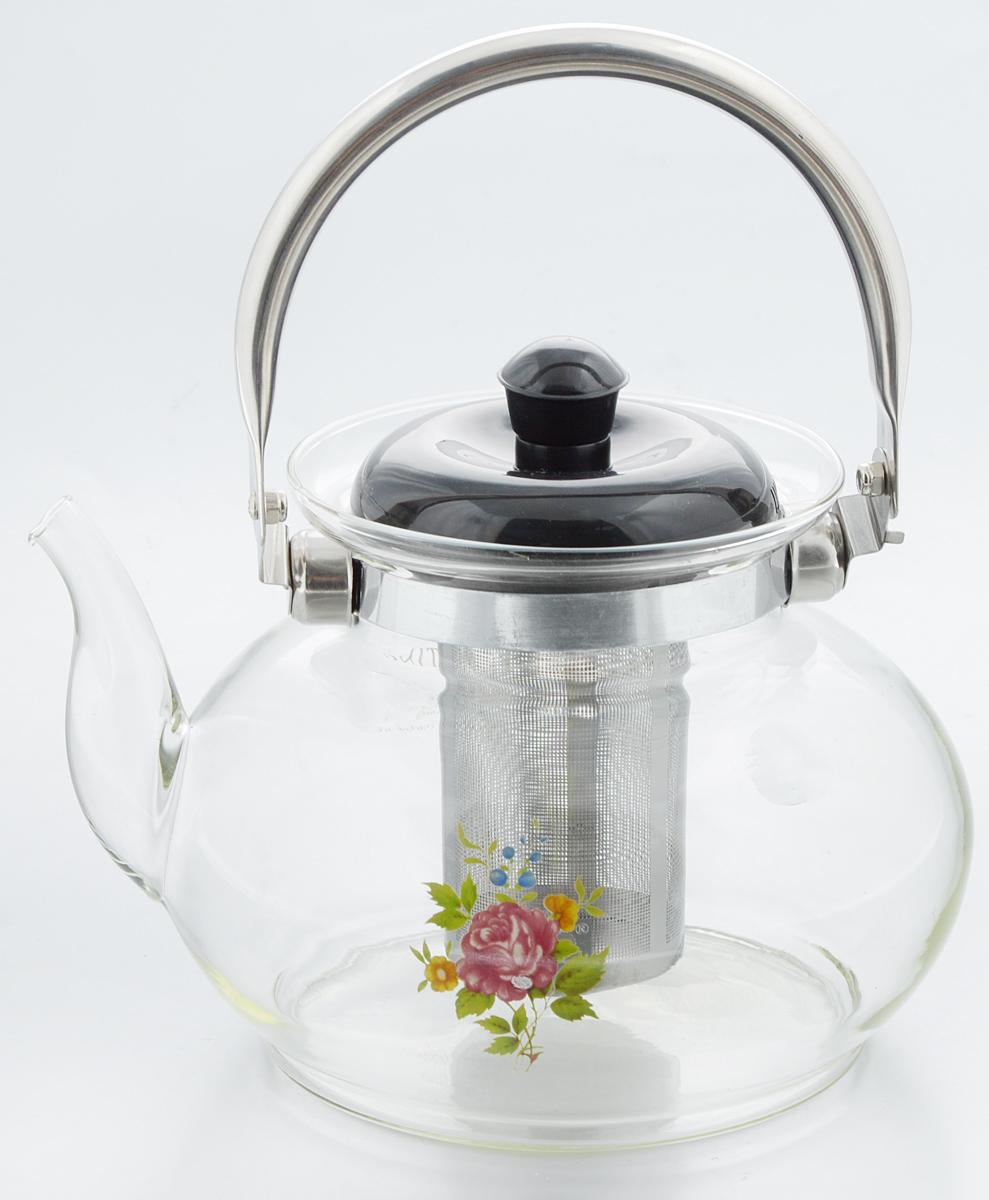 Чайник заварочный KJF Роза, с фильтром, 1,5 л4605_одна розаЗаварочный чайник KJF Роза изготовлен из термостойкого стекла и украшен цветочным рисунком и металлическим ободом. Внутри изделия установлен сетчатый фильтр из нержавеющей стали, который задерживает чаинки и предотвращает их попадание в чашку. Чайник оснащен удобной металлической ручкой и пластиковой крышкой. Яркий стильный заварочный чайник эффектно украсит стол к чаепитию и станет его неизменным атрибутом. Диаметр чайника (по верхнему краю): 6,5 см. Высота чайника (без учета ручки и крышки): 13 см. Высота чайника (с учетом ручки и крышки): 22 см. Высота фильтра: 8,5 см.