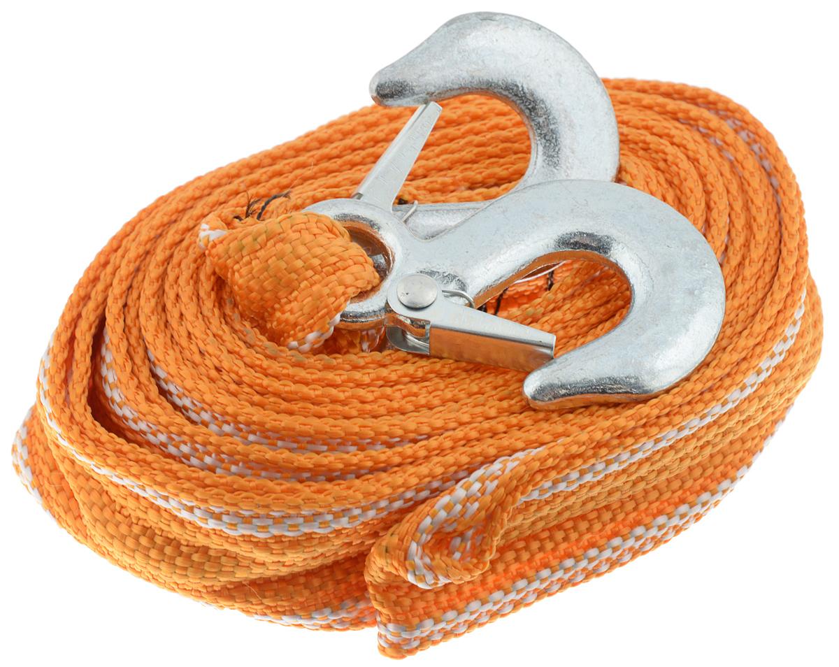 Трос буксировочный Azard, ленточный, с 2 крюками, с чехлом, 3,5 т, 4,5 мТР000007_оранжевый, белый, стальнойБуксировочный трос Azard представляет собой ленту из сверхпрочнойполиамидной (капроновой) нити и два стальных крюка. Специальное плетение ленты обеспечивает эластичность троса и плавный старт автомобиля при буксировке. На протяжении всего срока службы не меняет свои линейные размеры.Трос морозостойкий, влагостойкий и устойчив к агрессивным средами воздействию нефтепродуктов. Длина троса соответствует ПДД РФ.Буксировочный трос обязательно должен быть в каждом автомобиле. Он необходим на случай аварийной ситуации или если ваш автомобиль застрял на бездорожье или попал в аварийную ситуацию.В комплект входит чехол для транспортировки и хранения троса. Максимальная нагрузка: 3,5 т.Длина троса: 4,5 м.