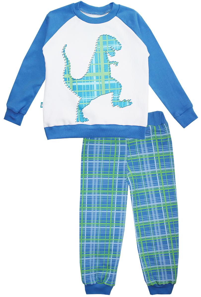 Пижама для мальчика КотМарКот Дино, цвет: белый, синий. 16551. Размер 110, 5 лет16551Пижама для мальчика КотМарКот Дино включает в себя лонгслив и брюки. Пижама изготовлена из натурального хлопка.Лонгслив с длинными рукавами-реглан и круглым вырезом горловины оформлен принтом с изображением силуэта динозавра.Свободные брюки с широкой эластичной резинкой на поясе дополнены трикотажными манжетами по низу брючин. Модель украшена принтом в клетку.
