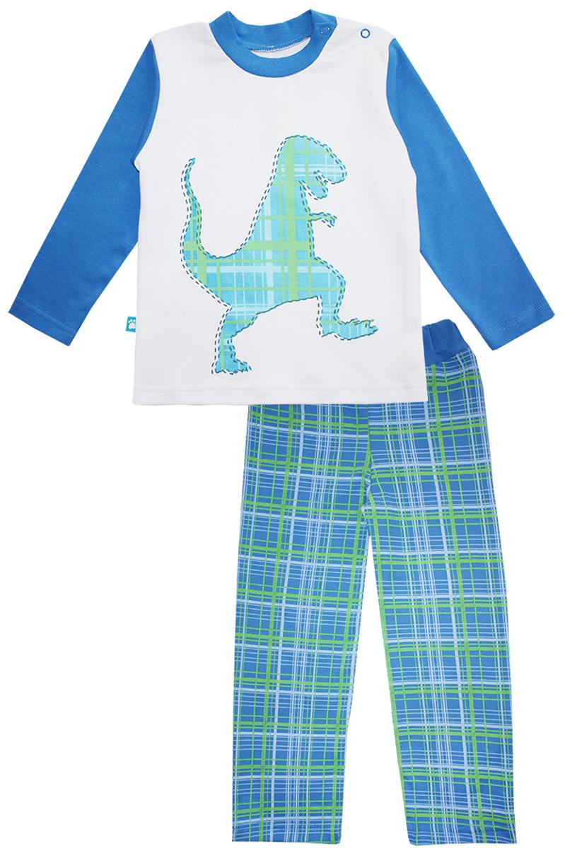 Пижама для мальчика КотМарКот Дино, цвет: белый, синий. 16651. Размер 92, 2 года16651Пижама для мальчика КотМарКот Дино включает в себя лонгслив и брюки. Пижама изготовлена из натурального хлопка.Лонгслив с длинными рукавами и круглым вырезом горловины дополнен двумя кнопками на плече для удобства переодевания. Лонгслив оформлен принтом с изображением силуэта динозавра.Свободные брюки с широкой эластичной резинкой на поясе дополнены трикотажными манжетами по низу брючин. Модель украшена принтом в клетку.