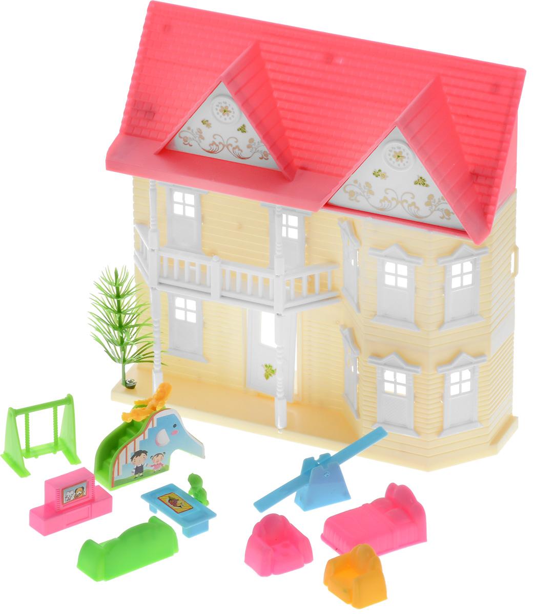 ABtoys Дом для кукол цвет молочный розовый кукол домик
