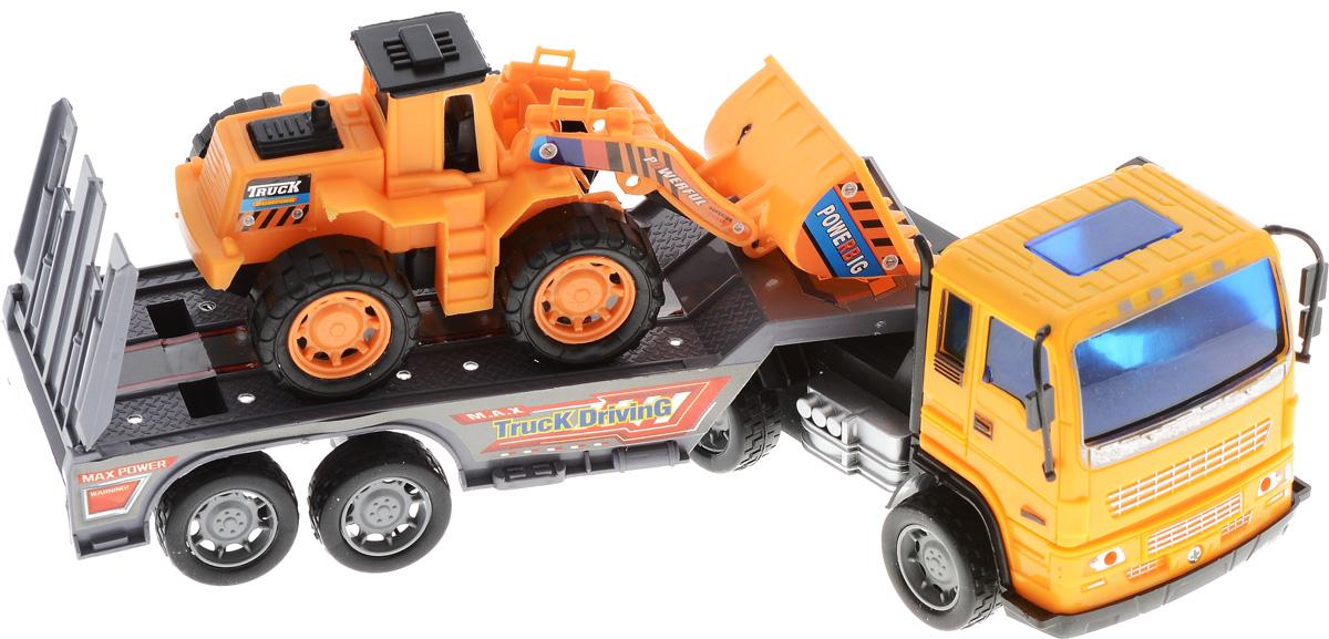 Junfa Toys Автовоз инерционный с погрузчиком Excellent Transport Car калодки на полуприцеп нефаз