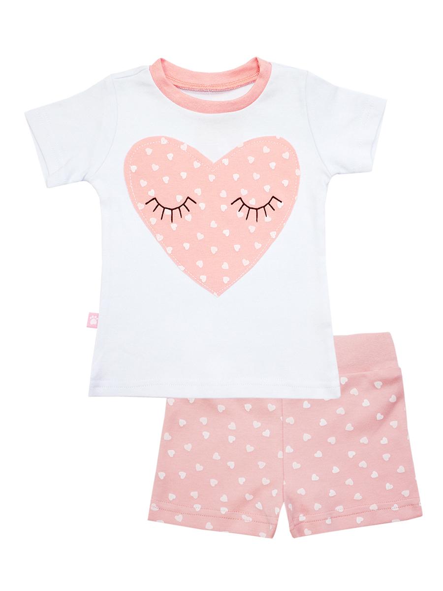 Пижама для девочки КотМарКот Сердечко, цвет: розовый, белый. 16452. Размер 122, 7 лет футболка детская котмаркот цвет светло зеленый 14106 размер 122 7 лет