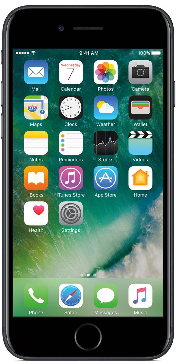 Apple iPhone 7 128GB, BlackMN922RU/AiPhone 7 оснащен великолепной камерой, которая позволяет делать невероятные снимки. Этот телефон обладает высокой производительностью и самым долговечным аккумулятором среди всех моделей iPhone, великолепными стереодинамиками, системой широкой цветопередачи от камеры на экран. Для iPhone 7 доступны два новых великолепных цвета корпуса, а также обеспечивается защита от воды и пыли.В iPhone 7 встроена самая популярная в мире камера. Благодаря совершенно новым функциям она стала ещё лучше. 12-мегапиксельная камера в iPhone 7 оснащена системой оптической стабилизации изображения, обладает высокой светосилой f/1.8 и 6-элементным объективом для съёмки ярких фотографий и видео с высоким разрешением. Расширенный цветовой диапазон позволяет фиксировать яркие цвета во всех деталях.Другие усовершенствования камерыНовый процессор обработки сигнала изображения, созданный Apple, выполняет более 100 миллиардов операций на одной фотографии всего за 25 миллисекунд. Это обеспечивает невероятное качество снимков и видео. Новая 7-мегапиксельная камера FaceTime HD обладает более широкой цветопередачей, передовой технологией пикселей и системой автоматической стабилизации изображения для съёмки отличных селфи. Новая вспышка True Tone Quad-LED на 50% ярче, чем в iPhone 6s. Она оснащена передовой матрицей, которая распознаёт и сглаживает блики на видеозаписях и фотографиях.Работает дольше и эффективнееРаботу всех этих инноваций обеспечивает новый процессор A10 Fusion, специально созданный Apple. Новая архитектура делает его самым мощным процессором в истории смартфонов. При этом он обеспечивает более долгую работу без подзарядки, чем у любой другой модели iPhone. Процессор A10 Fusion выполнен по 4-ядерной технологии: в нём объединены два высокомощных ядра, работающих почти вдвое быстрее, чем iPhone 6, и два высокоэффективных ядра, которые способны потреблять в 5 раз меньше энергии, чем высокомощные ядра. Скорость обработки графики также возросла: теперь 