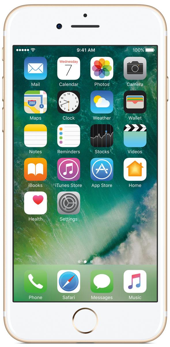Apple iPhone 7 32GB, GoldMN902RU/AiPhone 7 оснащен великолепной камерой, которая позволяет делать невероятные снимки. Этот телефон обладает высокой производительностью и самым долговечным аккумулятором среди всех моделей iPhone, великолепными стереодинамиками, системой широкой цветопередачи от камеры на экран. Для iPhone 7 доступны два новых великолепных цвета корпуса, а также обеспечивается защита от воды и пыли.В iPhone 7 встроена самая популярная в мире камера. Благодаря совершенно новым функциям она стала ещё лучше. 12-мегапиксельная камера в iPhone 7 оснащена системой оптической стабилизации изображения, обладает высокой светосилой f/1.8 и 6-элементным объективом для съёмки ярких фотографий и видео с высоким разрешением. Расширенный цветовой диапазон позволяет фиксировать яркие цвета во всех деталях.Другие усовершенствования камерыНовый процессор обработки сигнала изображения, созданный Apple, выполняет более 100 миллиардов операций на одной фотографии всего за 25 миллисекунд. Это обеспечивает невероятное качество снимков и видео. Новая 7-мегапиксельная камера FaceTime HD обладает более широкой цветопередачей, передовой технологией пикселей и системой автоматической стабилизации изображения для съёмки отличных селфи. Новая вспышка True Tone Quad-LED на 50% ярче, чем в iPhone 6s. Она оснащена передовой матрицей, которая распознаёт и сглаживает блики на видеозаписях и фотографиях.Работает дольше и эффективнееРаботу всех этих инноваций обеспечивает новый процессор A10 Fusion, специально созданный Apple. Новая архитектура делает его самым мощным процессором в истории смартфонов. При этом он обеспечивает более долгую работу без подзарядки, чем у любой другой модели iPhone. Процессор A10 Fusion выполнен по 4-ядерной технологии: в нём объединены два высокомощных ядра, работающих почти вдвое быстрее, чем iPhone 6, и два высокоэффективных ядра, которые способны потреблять в 5 раз меньше энергии, чем высокомощные ядра. Скорость обработки графики также возросла: теперь он