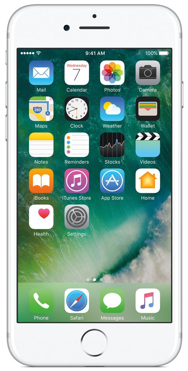 Apple iPhone 7 128GB, SilverMN932RU/AiPhone 7 оснащен великолепной камерой, которая позволяет делать невероятные снимки. Этот телефон обладает высокой производительностью и самым долговечным аккумулятором среди всех моделей iPhone, великолепными стереодинамиками, системой широкой цветопередачи от камеры на экран. Для iPhone 7 доступны два новых великолепных цвета корпуса, а также обеспечивается защита от воды и пыли.В iPhone 7 встроена самая популярная в мире камера. Благодаря совершенно новым функциям она стала ещё лучше. 12-мегапиксельная камера в iPhone 7 оснащена системой оптической стабилизации изображения, обладает высокой светосилой f/1.8 и 6-элементным объективом для съёмки ярких фотографий и видео с высоким разрешением. Расширенный цветовой диапазон позволяет фиксировать яркие цвета во всех деталях.Другие усовершенствования камерыНовый процессор обработки сигнала изображения, созданный Apple, выполняет более 100 миллиардов операций на одной фотографии всего за 25 миллисекунд. Это обеспечивает невероятное качество снимков и видео. Новая 7-мегапиксельная камера FaceTime HD обладает более широкой цветопередачей, передовой технологией пикселей и системой автоматической стабилизации изображения для съёмки отличных селфи. Новая вспышка True Tone Quad-LED на 50% ярче, чем в iPhone 6s. Она оснащена передовой матрицей, которая распознаёт и сглаживает блики на видеозаписях и фотографиях.Работает дольше и эффективнееРаботу всех этих инноваций обеспечивает новый процессор A10 Fusion, специально созданный Apple. Новая архитектура делает его самым мощным процессором в истории смартфонов. При этом он обеспечивает более долгую работу без подзарядки, чем у любой другой модели iPhone. Процессор A10 Fusion выполнен по 4-ядерной технологии: в нём объединены два высокомощных ядра, работающих почти вдвое быстрее, чем iPhone 6, и два высокоэффективных ядра, которые способны потреблять в 5 раз меньше энергии, чем высокомощные ядра. Скорость обработки графики также возросла: теперь