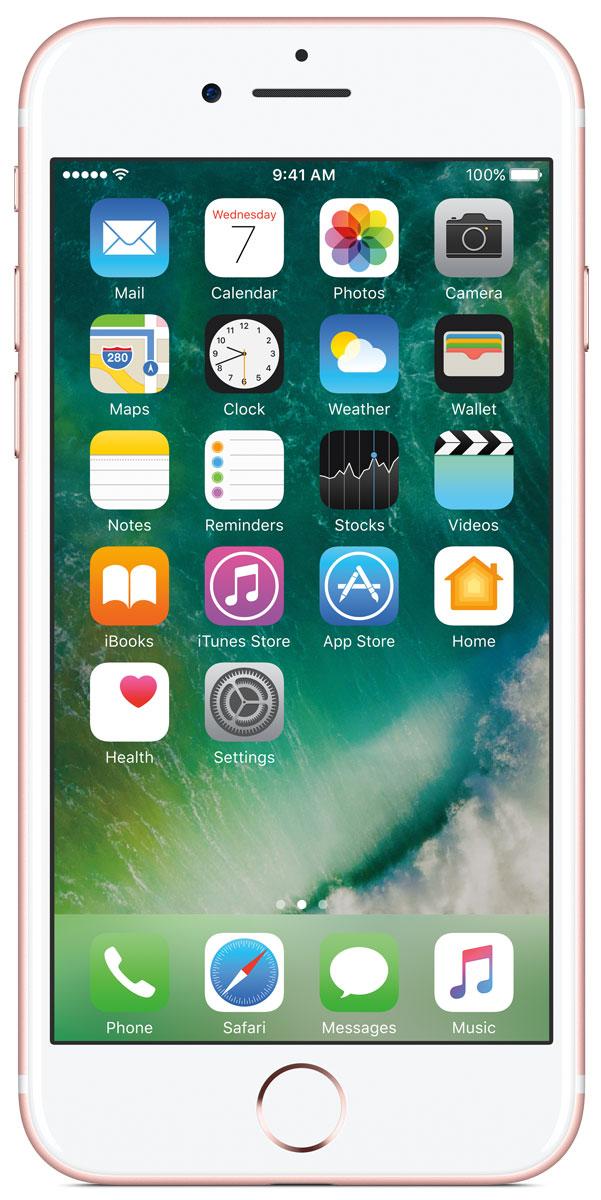 Apple iPhone 7 128GB, Rose GoldMN952RU/AiPhone 7 оснащен великолепной камерой, которая позволяет делать невероятные снимки. Этот телефон обладает высокой производительностью и самым долговечным аккумулятором среди всех моделей iPhone, великолепными стереодинамиками, системой широкой цветопередачи от камеры на экран. Для iPhone 7 доступны два новых великолепных цвета корпуса, а также обеспечивается защита от воды и пыли.В iPhone 7 встроена самая популярная в мире камера. Благодаря совершенно новым функциям она стала ещё лучше. 12-мегапиксельная камера в iPhone 7 оснащена системой оптической стабилизации изображения, обладает высокой светосилой f/1.8 и 6-элементным объективом для съёмки ярких фотографий и видео с высоким разрешением. Расширенный цветовой диапазон позволяет фиксировать яркие цвета во всех деталях.Другие усовершенствования камерыНовый процессор обработки сигнала изображения, созданный Apple, выполняет более 100 миллиардов операций на одной фотографии всего за 25 миллисекунд. Это обеспечивает невероятное качество снимков и видео. Новая 7-мегапиксельная камера FaceTime HD обладает более широкой цветопередачей, передовой технологией пикселей и системой автоматической стабилизации изображения для съёмки отличных селфи. Новая вспышка True Tone Quad-LED на 50% ярче, чем в iPhone 6s. Она оснащена передовой матрицей, которая распознаёт и сглаживает блики на видеозаписях и фотографиях.Работает дольше и эффективнееРаботу всех этих инноваций обеспечивает новый процессор A10 Fusion, специально созданный Apple. Новая архитектура делает его самым мощным процессором в истории смартфонов. При этом он обеспечивает более долгую работу без подзарядки, чем у любой другой модели iPhone. Процессор A10 Fusion выполнен по 4-ядерной технологии: в нём объединены два высокомощных ядра, работающих почти вдвое быстрее, чем iPhone 6, и два высокоэффективных ядра, которые способны потреблять в 5 раз меньше энергии, чем высокомощные ядра. Скорость обработки графики также возросла: теп
