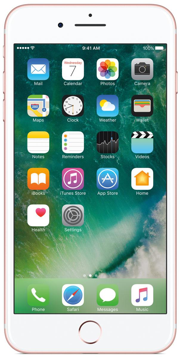 Apple iPhone 7 Plus 128GB, Rose GoldMN4U2RU/AiPhone 7 Plus оснащен великолепными камерами, которые позволяют делать невероятные снимки. Этот телефон обладает высокой производительностью и самым долговечным аккумулятором среди всех моделей iPhone, великолепными стереодинамиками, системой широкой цветопередачи от камеры на экран. Для iPhone 7 доступны два новых великолепных цвета корпуса, а также обеспечивается защита от воды и пыли. В iPhone 7 Plus встроена самая популярная в мире камера. Благодаря совершенно новым функциям она стала ещё лучше. 12-мегапиксельная камера в iPhone 7 оснащена системой оптической стабилизации изображения, обладает высокой светосилой f/1.8 и 6-элементным объективом для съёмки ярких фотографий и видео с высоким разрешением. Расширенный цветовой диапазон позволяет фиксировать яркие цвета во всех деталях. Позже в этом году обе 12-мегапиксельные камеры в iPhone 7 Plus станут поддерживать новый эффект глубины резкости при съёмке фотографий: сложная технология с системой машинного обучения будет отделять фон от переднего плана. Это позволит снимать великолепные портреты, которые прежде были доступны только пользователям зеркальных фотокамер.Другие усовершенствования камеры Новый процессор обработки сигнала изображения, созданный Apple, выполняет более 100 миллиардов операций на одной фотографии всего за 25 миллисекунд. Это обеспечивает невероятное качество снимков и видео. Новая 7-мегапиксельная камера FaceTime HD обладает более широкой цветопередачей, передовой технологией пикселей и системой автоматической стабилизации изображения для съёмки отличных селфи. Новая вспышка True Tone Quad-LED на 50% ярче, чем в iPhone 6s. Она оснащена передовой матрицей, которая распознаёт и сглаживает блики на видеозаписях и фотографиях.Работает дольше и эффективнее Работу всех этих инноваций обеспечивает новый процессор A10 Fusion, специально созданный Apple. Новая архитектура делает его самым мощным процессором в истории смартфонов. При этом он обеспечивает бо