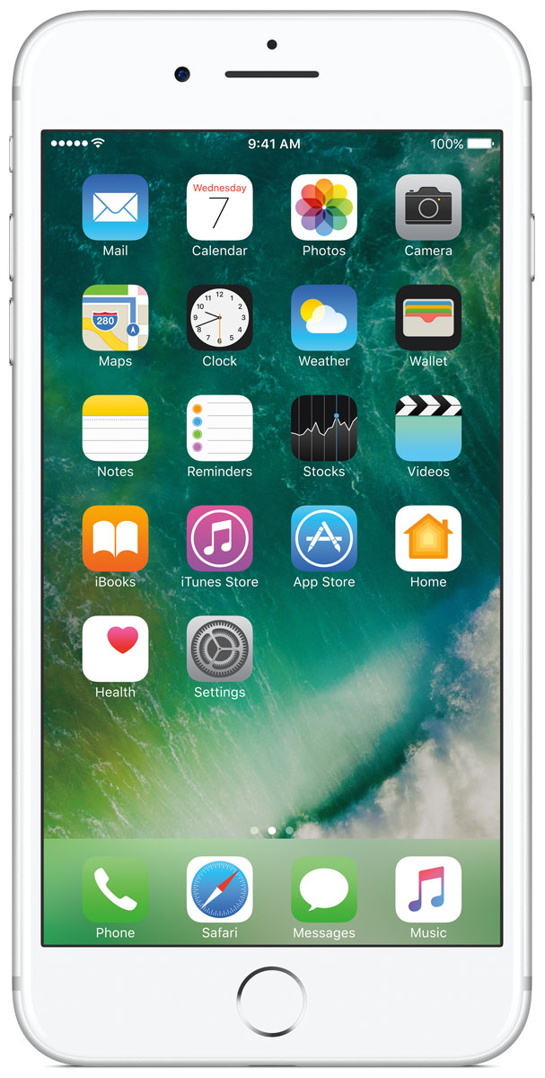 Apple iPhone 7 Plus 32GB, SilverMNQN2RU/AiPhone 7 Plus оснащен передовыми камерами, которые позволяют делать невероятные снимки, увеличенной производительностью и самым долговечным аккумулятором среди всех iPhone, великолепными стереодинамиками, системой широкой цветопередачи от камеры к дисплею, доступны в двух новых великолепных цветах, а также впервые на iPhone - защита от воды и пыли. В iPhone 7 Plus встроена самая популярная в мире камера. Благодаря совершенно новым функциям она стала ещё лучше. 12-мегапиксельная камера в iPhone 7 Plus оснащена системой оптической стабилизации изображения, обладает расширенной диафрагмой f/1.8 и 6-элементным объективом для съёмки ещё более ярких и детальных фотографий и видео. Расширенный цветовой диапазон позволяет фиксировать яркие цвета во всех деталях. В iPhone 7 Plus встроена такая же 12-мегапиксельная широкоугольная камера, как в iPhone 7, а также камера с телеобъективом. Вместе они обеспечивают 2-кратный оптический зум и 10-кратный цифровой зум при съёмке фотографий.Позже в этом году обе 12-мегапиксельные камеры в iPhone 7 Plus станут поддерживать новый эффект глубины резкости при съёмке фотографий: сложная технология с системой машинного обучения будет отделять фон от переднего плана. Это позволит снимать великолепные портреты, которые прежде были доступны только пользователям зеркальных фотокамер.Другие усовершенствования камеры:Новый процессор обработки сигнала изображения, созданный Apple, обрабатывает более 100 миллиардов операций на одной фотографии всего за 25 миллисекунд. Это обеспечивает невероятное качество снимков и видео. Новая 7-мегапиксельная камера FaceTime HD обладает более широкой цветопередачей, передовой технологией пикселей и системой автоматической стабилизации изображения для съёмки отличных селфи.Новая вспышка True Tone Quad-LED на 50% ярче, чем на iPhone 6s. Она оснащена передовой матрицей, которая распознаёт и сглаживает блики на видеозаписях и фотографиях.Работает дольше и эффективнее:Работу все