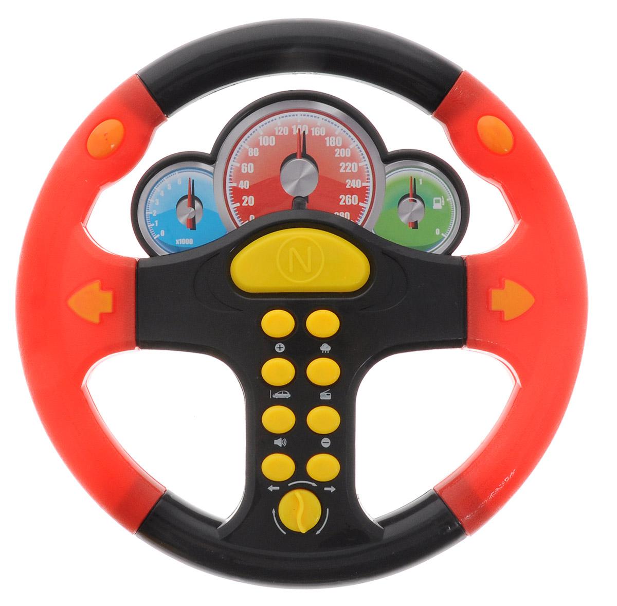 ABtoys Игрушечный музыкальный руль цвет черный красный abtoys игрушечный музыкальный руль цвет черный желтый красный
