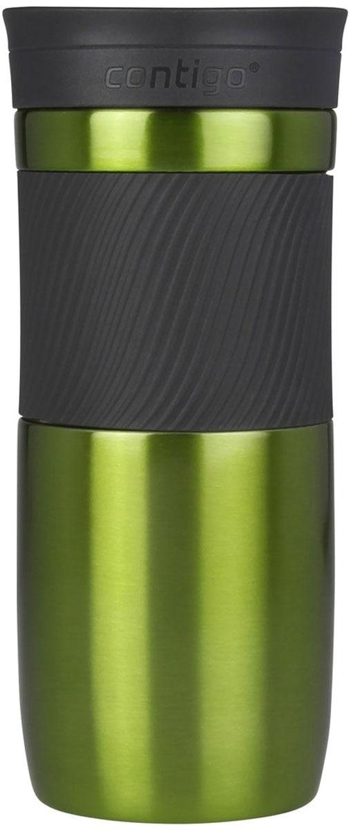 Термокружка Contigo Byron, цвет: зеленый, 470 млcontigo0548Термокружка Contigo Byron, изготовленная из высококачественной матированной нержавеющей стали и пищевого пластика, подходит как для холодных, так и для горячих напитков. Жидкость сохраняется горячей до 7 часов, холодной - до 18 часов. Изделие оснащено крышкой с открывающимся клапаном, что очень удобно для питья. Специальное устройство Snapseal открывает и закрывает клапан. Рельефная резиновая вставка на корпусе кружки обеспечивает удобный хват и защищает руки от воздействия высоких температур.С такой термокружкой вы где угодно сможете насладиться вашими любимыми напитками: в поездке, на прогулке, на работе или учебе. Изделие удобно брать с собой. Подходит для мытья в посудомоечной машине.
