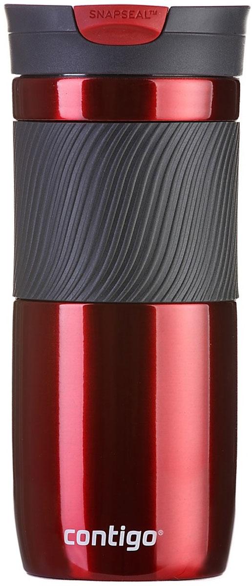 Термокружка Contigo Byron, цвет: красный, 470 млcontigo0577Термокружка Contigo Byron, изготовленная из высококачественной матированной нержавеющей стали и пищевого пластика, подходит как для холодных, так и для горячих напитков. Жидкость сохраняется горячей до 7 часов, холодной - до 18 часов. Изделие оснащено крышкой с открывающимся клапаном, что очень удобно для питья. Специальное устройство Snapseal открывает и закрывает клапан. Рельефная резиновая вставка на корпусе кружки обеспечивает удобный хват и защищает руки от воздействия высоких температур.С такой термокружкой вы где угодно сможете насладиться вашими любимыми напитками: в поездке, на прогулке, на работе или учебе. Изделие удобно брать с собой. Подходит для мытья в посудомоечной машине.