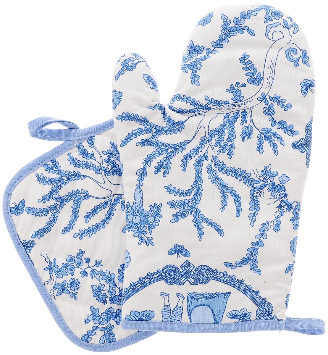 Набор кухонного текстиля Bonita Жуи, цвет: белый, голубой, 2 предмета11010815725Набор кухонного текстиля Bonita Жуи состоит из, прихватки и рукавицы для горячего. Изделия выполнены из 100% хлопка. Квадратная прихватка и рукавица служат для защиты рук от горячей посуды. Они снабжены петельками для подвешивания на крючок.Такой набор прекрасно подойдет для кухни, яркая расцветка и качество исполнения сделают его желанным подарком для любой хозяйки.Размер рукавицы: 15,5 х 26,5 см.Размер прихватки: 17,5 х 17,5 см.