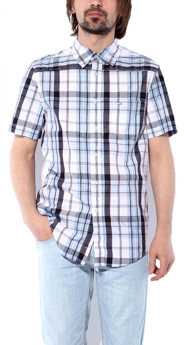 Рубашка мужская Montana, цвет: белый, голубой, темно-серый. 11061 NLBW. Размер M (48)11061 NLBWМужская рубашка Montana выполнена из натурального хлопка. Модель с отложным воротником и короткими рукавами застегивается на пуговицы по все длине. Спереди изделие дополнено накладным карманом. Рубашка оформлена принтом в клетку и дополнена фирменной, металлической нашивкой.