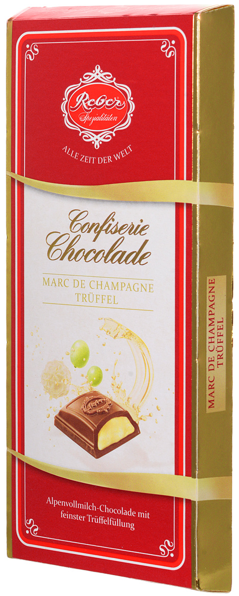 Reber Marc de Champagne Truffel шоколад молочный со вкусом шампанского, 100 г e wedel молочный шоколад с фруктовой начинкой черника земляника 100 г