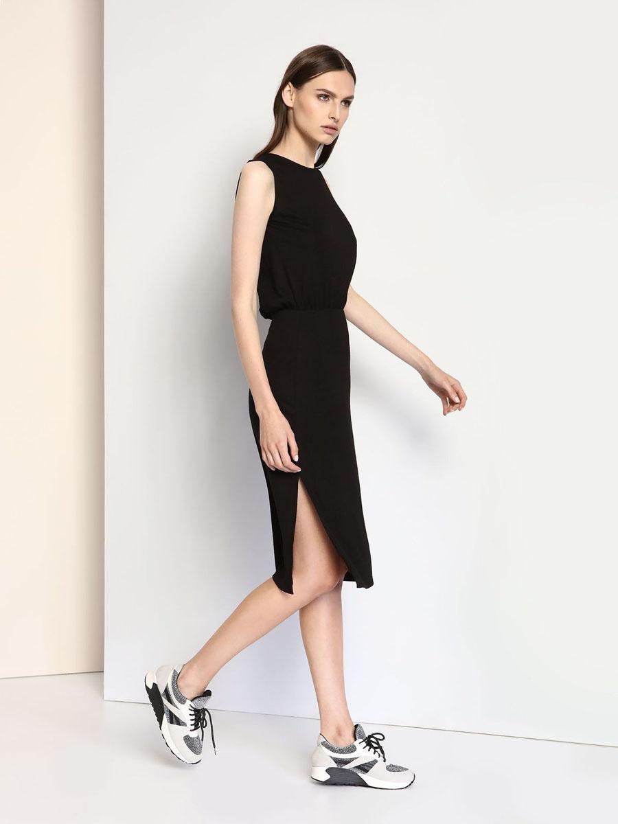 Платье Drywash, цвет: черный. DSU0062CA. Размер XS (42)DSU0062CAСтильное трикотажное платье Drywash выполнено из вискозы и полиэстера с добавлением эластана.Платье-миди с круглым вырезом горловины и без рукавов в талии присборено на резинку. Нижняя часть модели по боковым швам дополнена разрезами. На спинке платье оформлено V-образным вырезом.