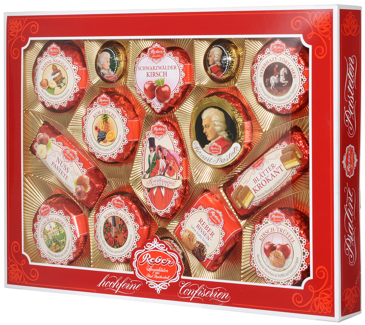 Reber Mozart подарочный набор шоколадных конфет, 525 г (коробка с окном)1410103Шоколадные конфеты от Reber Mozart - это не просто конфеты, это настоящие кондитерские шедевры. Впервые конфеты Ребер Моцарт были выпущены в 1890 году, через 100 лет после смерти великого Моцарта, и сразу завоевали невероятную популярность. Известные своим исключительным качеством, оригинальностью и изысканным дизайном, шоколадные деликатесы Reber в форме небольших подарочков – это настоящие драгоценности для ценителей.
