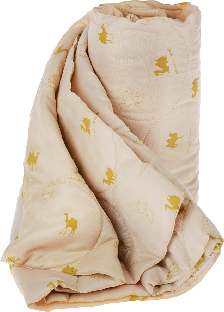 """Одеяло Подушкино """"Верблюжье"""" подарит здоровый и комфортный сон. Чехол одеяла изготовлен из ткани нового поколения Биософт, с тиснением и бархатистой фактурой. Данный материал обладает повышенной износостойкостью и практичностью. Внутри - наполнитель из верблюжьей шерсти.  Шерсть верблюда гипоаллергенна и долговечна, устойчива к загрязнениям и сминанию. Она удерживает тепло лучше, чем растительное волокно. Обладает мягкостью, сравнимой с кашемиром. Имеет оздоравливающие свойства: благодаря содержанию ланолина нейтрализует токсины, улучшает микроциркуляцию кожи, расширяет сосуды, усиливает обмен веществ и помогает избавиться от ревматических болей.  Благодаря отличной воздухонепроницаемости, шерсть верблюда позволяет вашей коже дышать во время сна.  Современная технология безниточной стежки """"Ультрастеп"""" обеспечивает надежное соединение ткани и наполнителя, предотвращает его скатывание. Отсутствие ниток исключает возможность повреждения стежки, что гарантирует изделию долговечность.  Материал чехла: биософт (100% полиэстер).  Материал наполнителя: шерсть верблюда (40% шерсть, 60% вискоза). УВАЖАЕМЫЕ КЛИЕНТЫ!  Товар поставляется в цветовом ассортименте. Отгрузка производится из имеющихся в наличии цветов."""