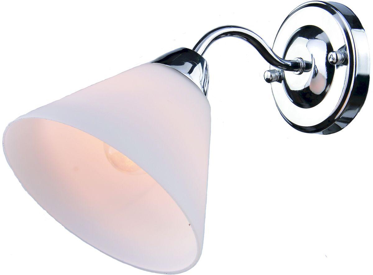 Светильник настенный Arte Lamp FedericaA1298AP-1CCДля создания полноценного освещения необходимо использовать не только потолочные источники света, но и настенные светильники. Особенной популярностью пользуются настенные бра. Для интерьеров, оформленных в стиле модерн, замечательным выбором станет светильник Arte Lamp Federica. Изделие, изготовленное из качественных материалов, обладает интересным, привлекающим внимание дизайном и изящно декорировано. Высокая прочность и надежность светильника обусловлены использованием в производстве материалов высокого качества. Корпус выполнен из металла. Мощность изделия в 40 Вт позволяет создать уютную световую зону площадью 2 квадратных метра, использовать которую можно как для комфортной работы, так и для спокойного отдыха. Внешний вид светильника предполагает его размещение в гостиной, кафе или спальне.