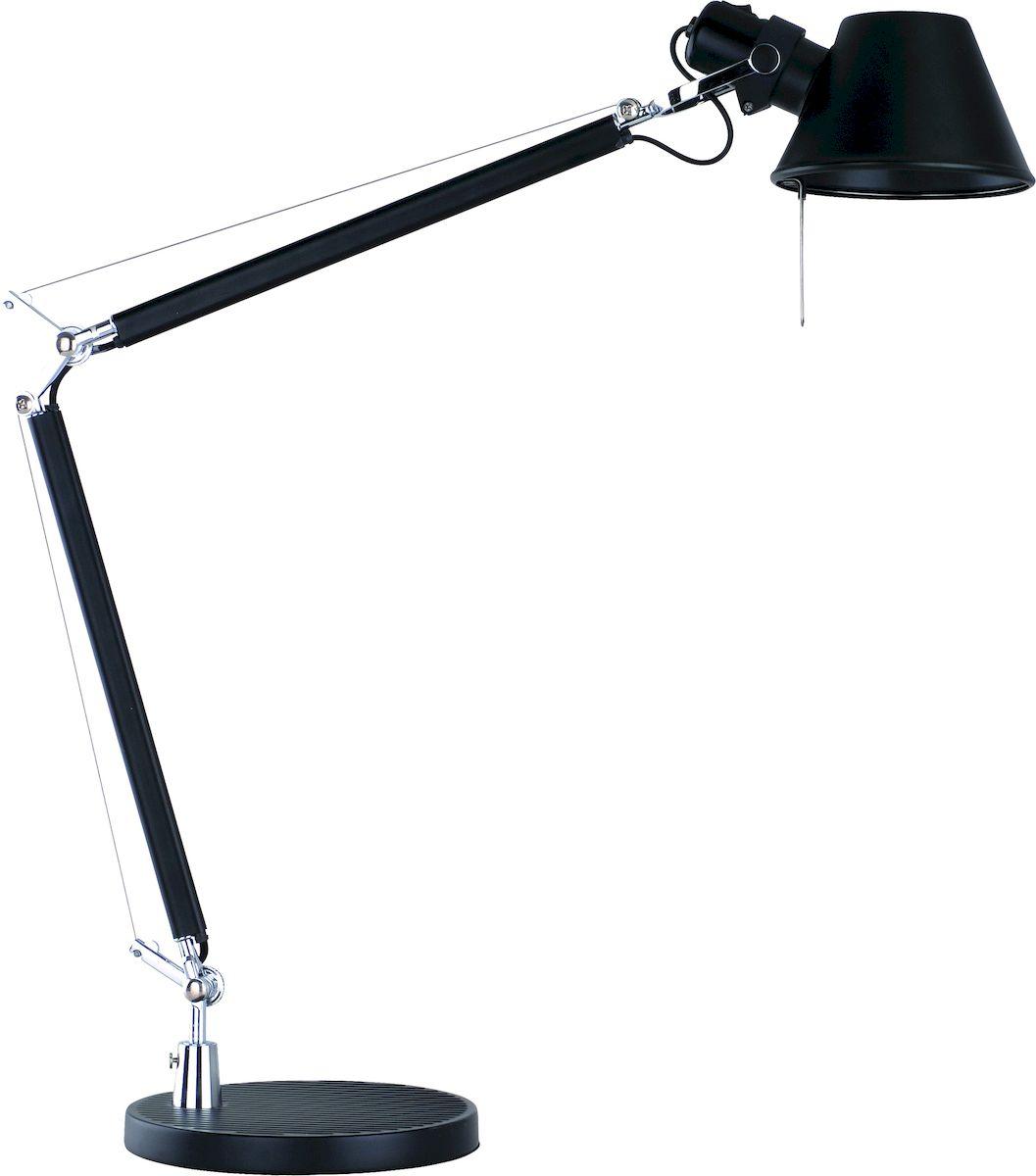 Светильник настольный Arte Lamp Airone. A2098LT-1BKA2098LT-1BKСветильник Arte Lamp Airone поможет создать в вашем доме атмосферу уюта и комфорта. Благодаря высококачественным материалам он практичен в использовании и отлично работает на протяжении долгого периода времени. Внешний размер: 21 х 52 х 70 см.Материал арматуры: металл крашеный.Материал плафонов/подвесок: металл крашеный.Количество источников света: 1.Мощность источника света: 60 Вт.Цоколь: E27.Напряжение: 220ВНаличие ламп в комплекте: нет.Цвет арматуры: черный.