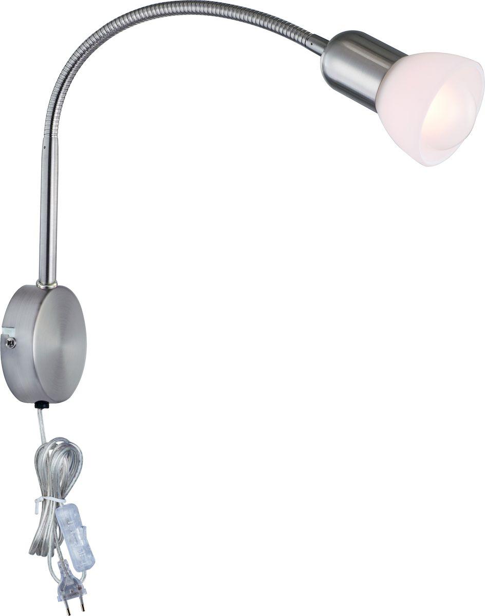 """Светильник Arte Lamp """"Falena"""" поможет создать в вашем доме атмосферу уюта и комфорта. Благодаря высококачественным материалам он практичен в использовании и отлично работает на протяжении долгого периода времени. Цоколь: Е14, 1х40 Ватт. Диаметр основания 8 см.Удаление от стены: максимальное 54 см.Крепление: основание шурупами.Гнущаяся ножка."""